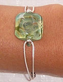 Square Glass Bracelet on Silver Chain
